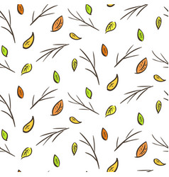 autumn falling leaves and branches pattern vector image