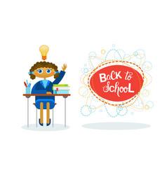 Back to school girl pupil sitting at desk studding vector