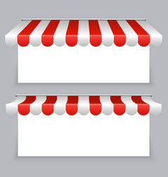 banners with striped awning tents set vector image