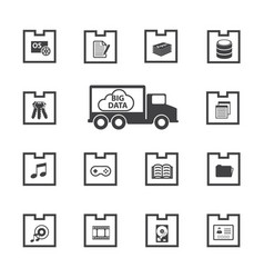 big data icons set vector image