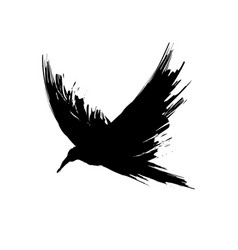 black brush raven vector image