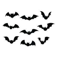 black silhouettes bats set on white background vector image