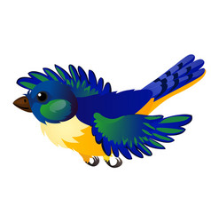 Blue flying animated bird isolated on white vector