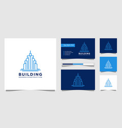 Building design logos with lines construction vector
