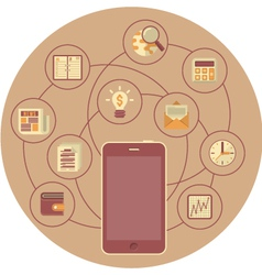 Business Mobility Concept in Brown Circle vector image