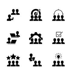 business team black icons on white backgorund vector image