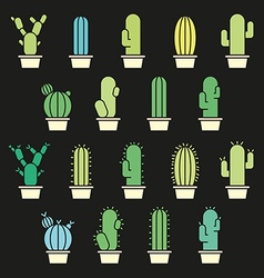 Cactus abstract collection in vector