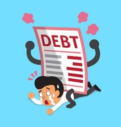 Cartoon a businessman with big debt letter vector image