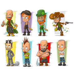 Cartoon cool funny different characters set vector