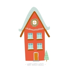 Christmas card with winter character house vector