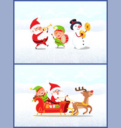 Christmas characters santa with elf and snowman vector