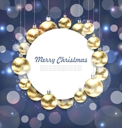 Christmas Golden Glowing Balls with Greeting Card vector