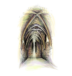 Church indoor gothic architecture vector