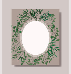 circular frame with laurel leafs vector image