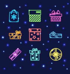 Collection of neon gift box icons vector