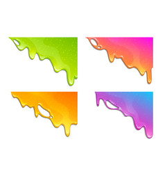 colorful slimy dribbles slime drops on corner vector image
