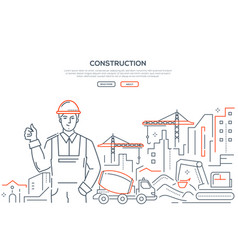 Construction - colorful line design style web vector