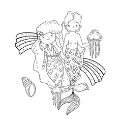couple mermaids with rainbow undersea vector image