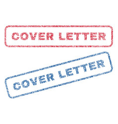 Cover letter textile stamps vector