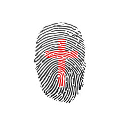 Cross thumb prints or fingerprint showing vector