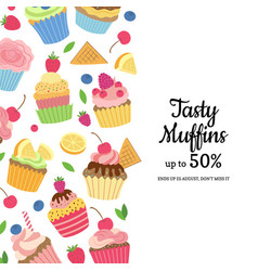 Cute cartoon muffins or cupcakes background vector