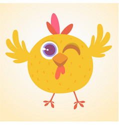 cute cartoon yellow chicken blinking eye vector image