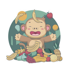 Cute monkey trow fruits food festival vector