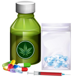 different kinds of drugs vector image