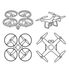 drone silhouette icons set vector image
