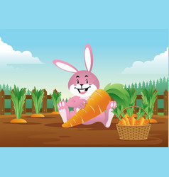 easter bunny with basket full carrots vector image