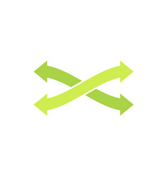 eco logo symbol with two green arrows crosswise vector image