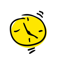 free hand drawing of an alarm clock vector image