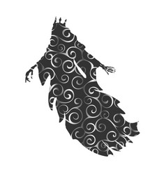 Ghost king pattern silhouette scary monster vector