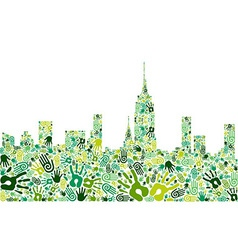 Go green hands city skyline background vector image