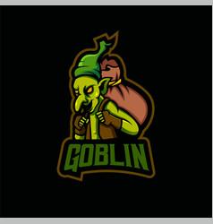 goblin mascot logo design with modern vector image