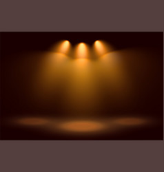 golden three spotlights and stage background vector image