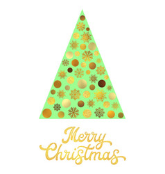 green christmas tree with gold glitter lettering vector image