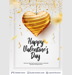 greeting holiday text and golden heart on white vector image