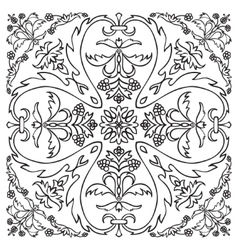 Hand drawing pattern for tile in black and white vector
