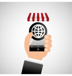 hand holding e-shopping globe design vector image