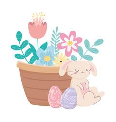 happy easter day sleeping rabbit eggs basket vector image