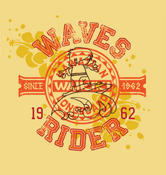 hawaiian longboard wave rider surfing kids vector image