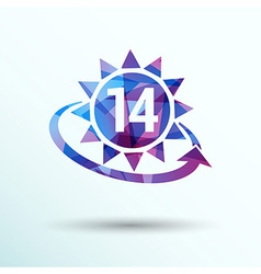 Heart shaped clock and calendar with 14 date vector