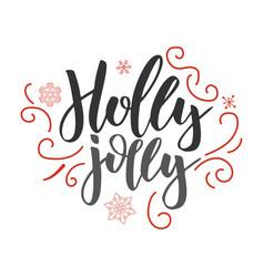 holly jolly handwritten modern brush lettering vector image