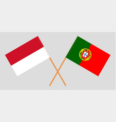 Indonesian and portuguese flags vector