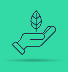 isolated linear icon of green leaf on hand vector image