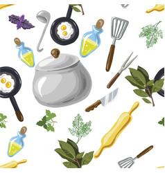 kitchen utensils seamless pattern hand drawn pop vector image