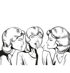 Line woman whispering gossip vector