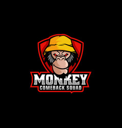 logo monkey e sport and sport style vector image