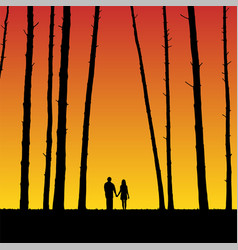 lovers in forest at sunset vector image